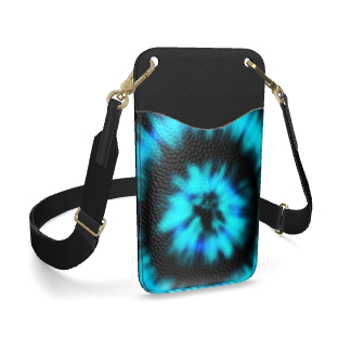 blue black tie dye painting leather phone case with strap