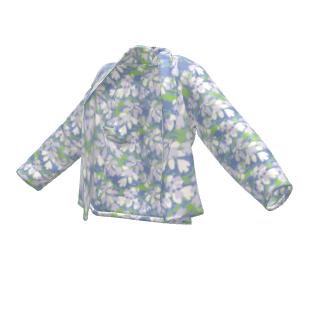 Wrap Blazer Blue, Green, Botanical  Laced Leaf  Platinum