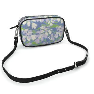 Camera Bag Blue, Green, Botanical  Laced Leaves  Platinum