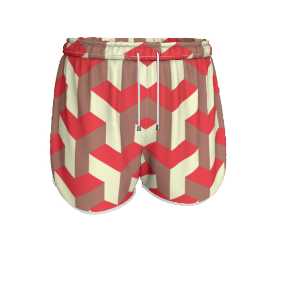 Heart in a cube - Womens Running Shorts - Abstract geometry, red, contrasting, bright, elegant, statement, futuristic, spectacular, graphic, noble, asymmetrical, effective, stylish gift - design by Tiana Lofd