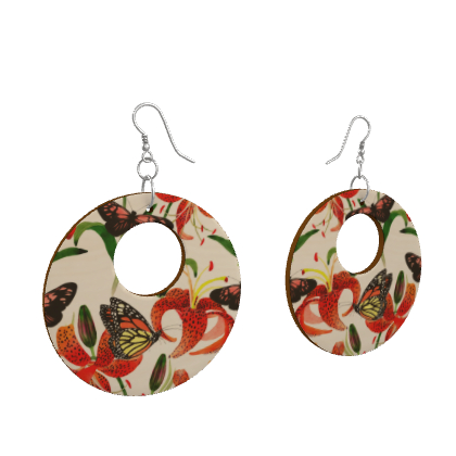 Floral and Fauna Loop Earrings