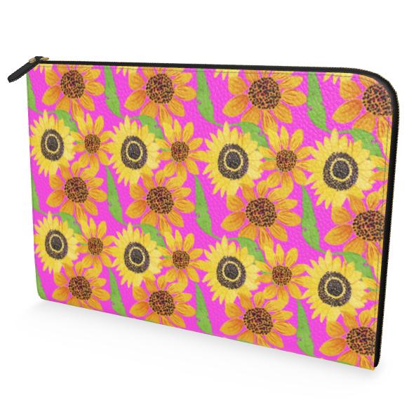 Naive Sunflowers On Fuchsia Leather Document Case