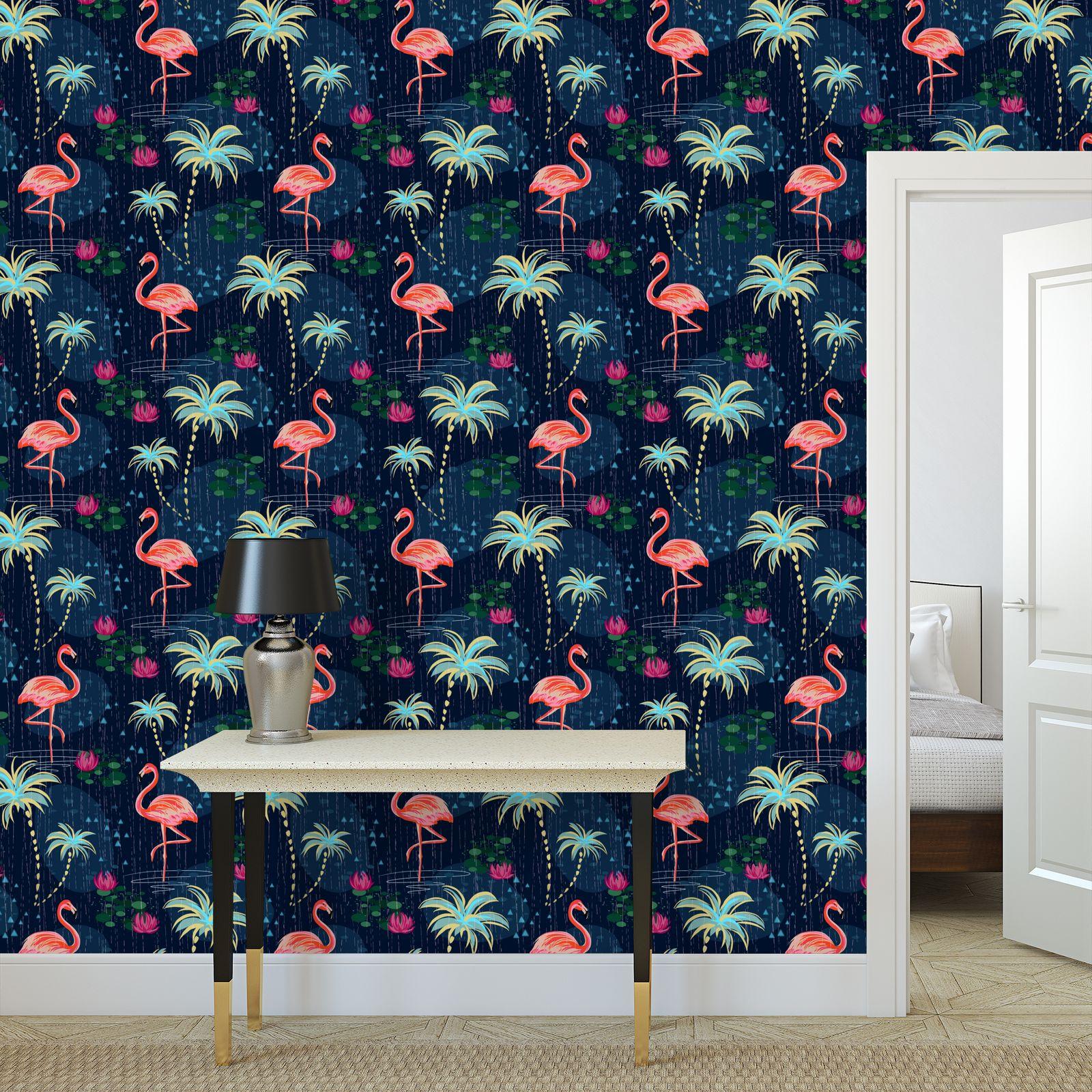 Pink flamingo - Wallpaper Rolls - tropical rain, palms, dark blue, navy, exotic, Bohemian, whimsical, resort, beach, bright, jungle, travel - design by Tiana Lofd