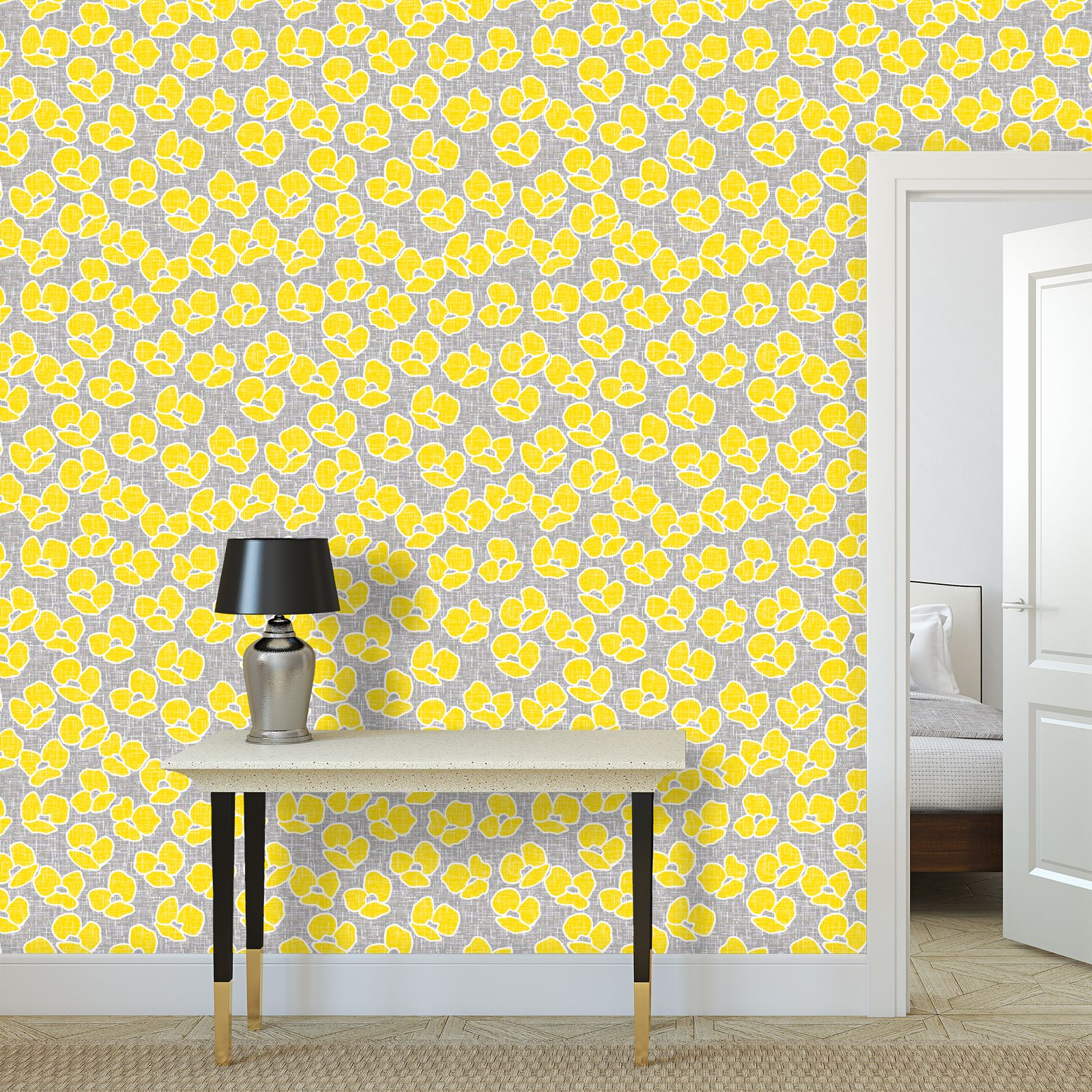 Sun poppies - Wallpaper Rolls Large scale - yellow flowers, gray flax, trendy, bright gift, summer, blooming, floral, gray flax - design by Tiana Lofd