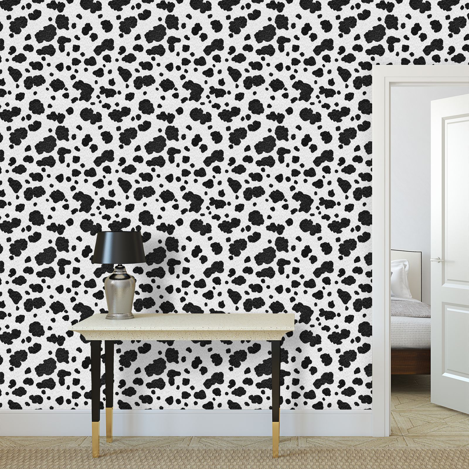 101 - Wallpaper Rolls - Dalmatian coat, spotted dog hair, animal print, black and white spots, puppies, animals, dog lovers gift - design by Tiana Lofd