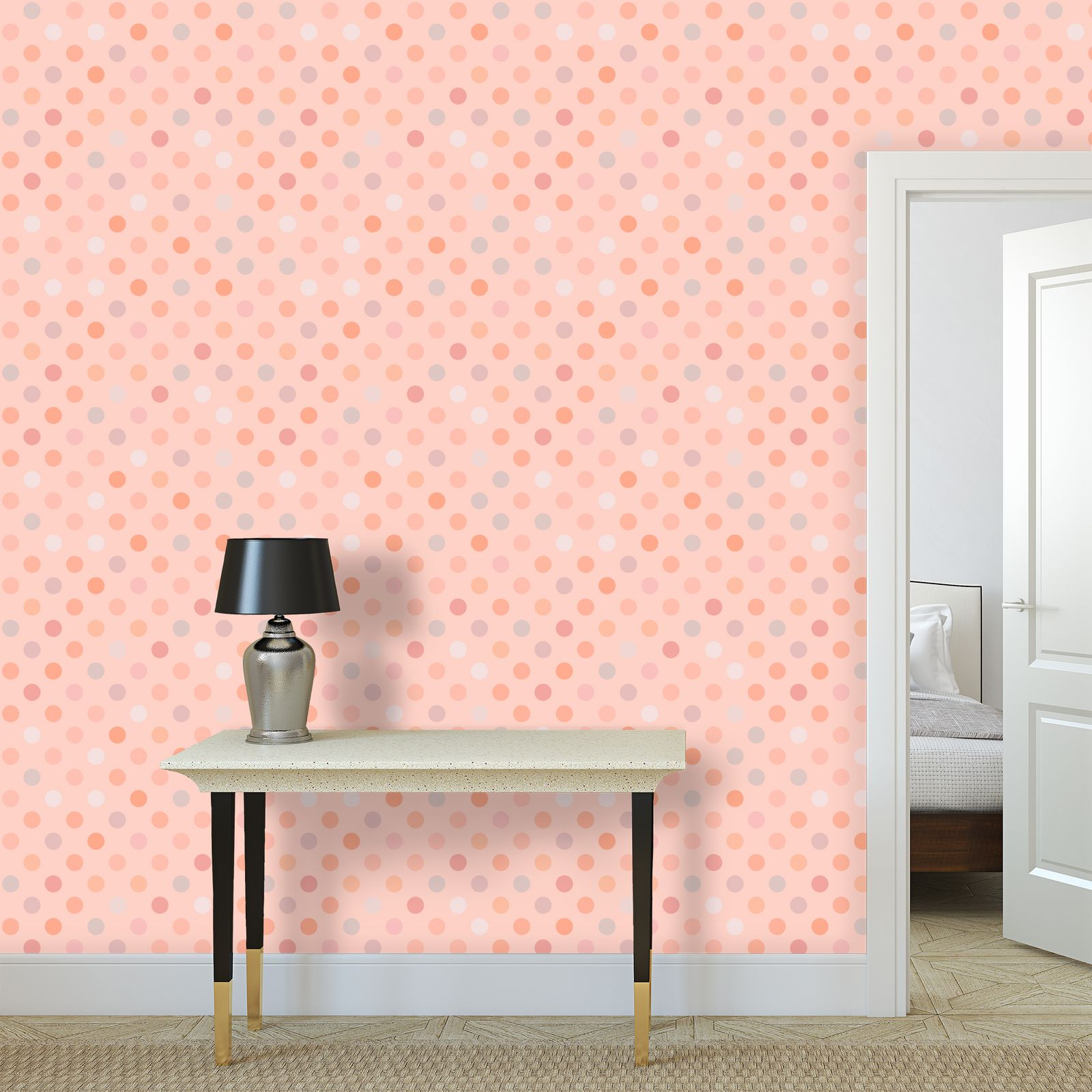 Silky dots - Wallpaper Rolls - Peach polka dot, powdery pink, feminine vintage, girly, baby, kids lovely gift - design by Tiana Lofd