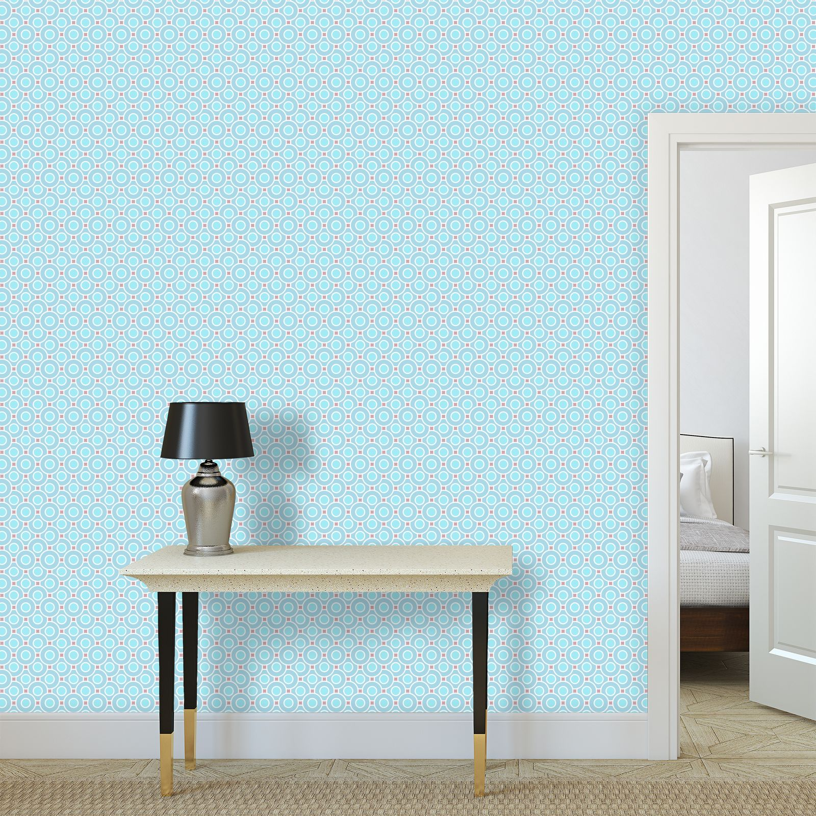 Blue tenderness - Wallpaper Rolls - elegant gift, soft, refined, female, geometric, romantic, airy, fresh, sweet, aerial, guipure - design by Tiana Lofd