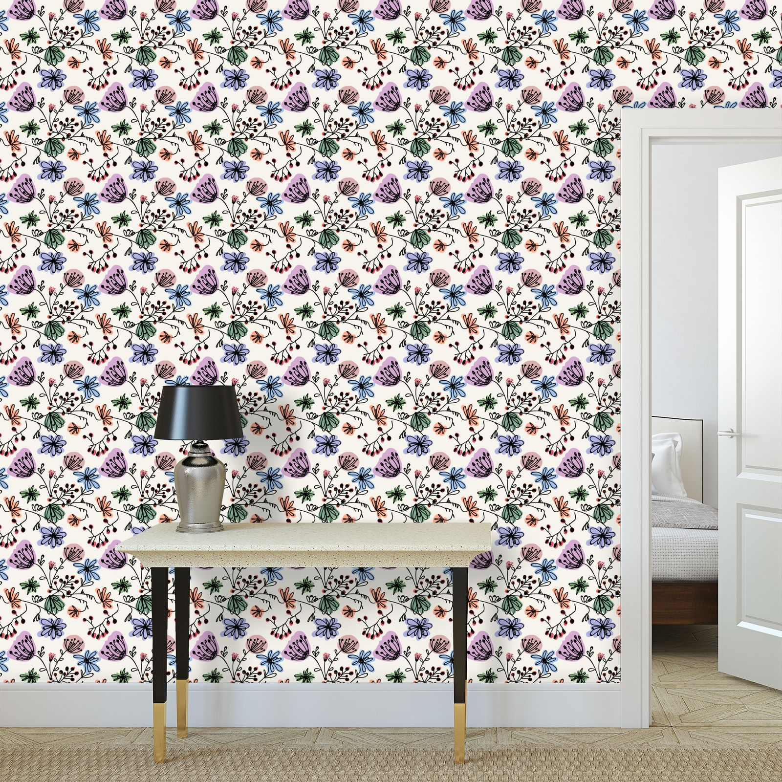 Wild flowers - Wallpaper Rolls - floral, large scale, hand drawing, colored spots, graphical, artistic, botanical, blossom, blooming plants, summer gift - design by Tiana Lofd