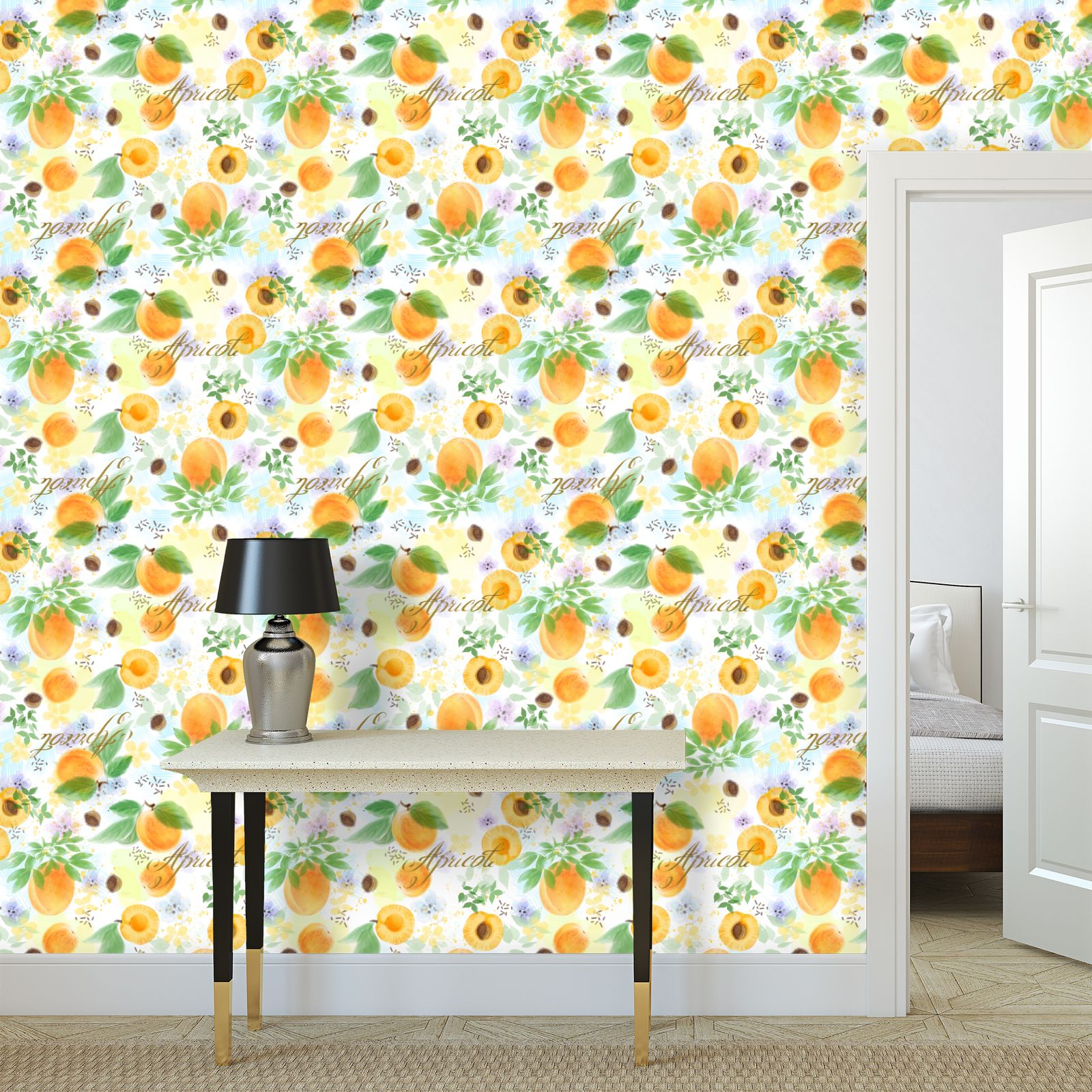 Little sun - Wallpaper Rolls - fruit design, apricots, sunny, orchard, yellow, bright, natural food, garden, hand-drawn floral, summer gift - design by Tiana Lofd