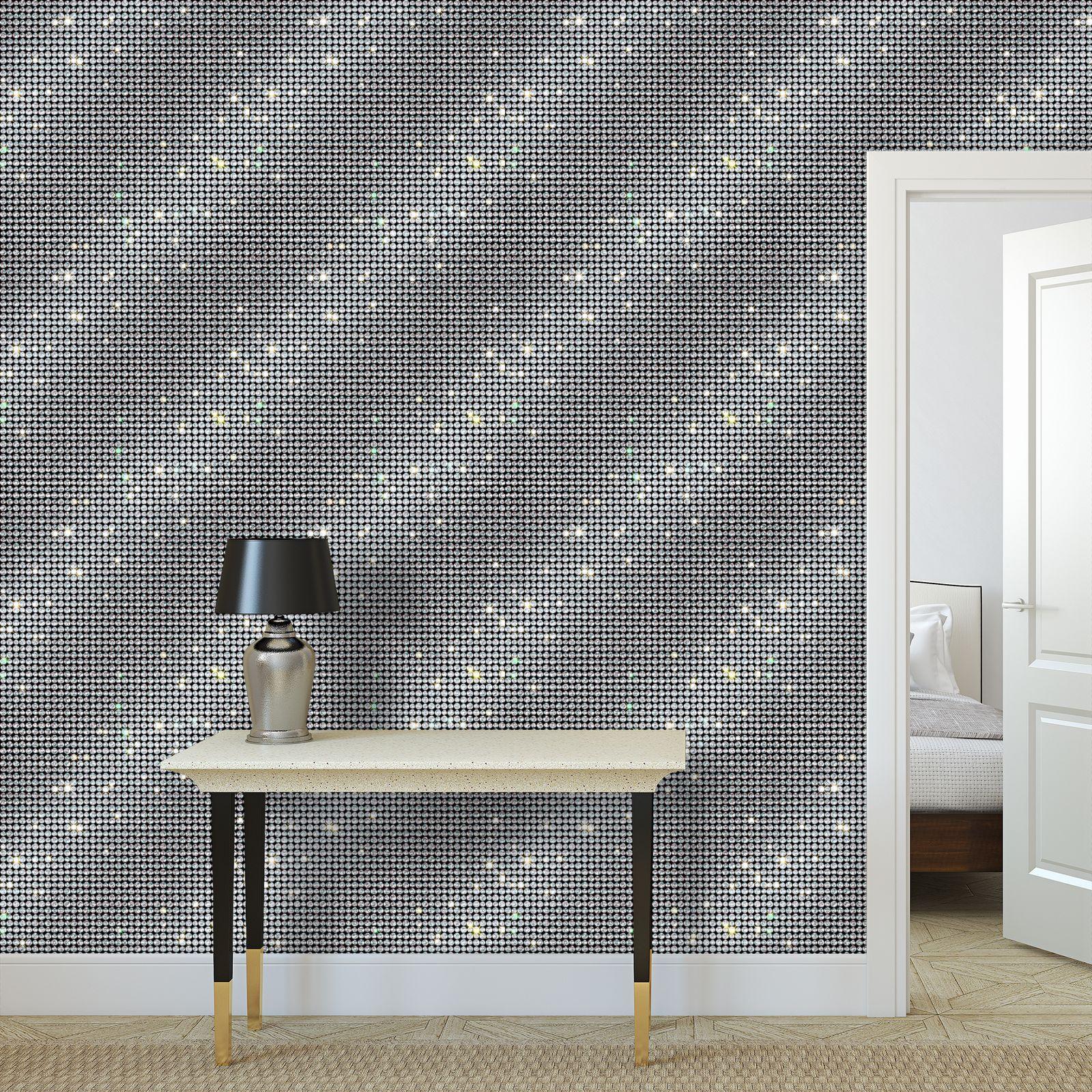 Diamond glamor - Wallpaper Rolls - Brilliant crystals, chic, black and white, sparkling, precious, humor, looks expensive, rhinestones, glitter, jewelery, glamorous fun gift - design by Tiana Lofd