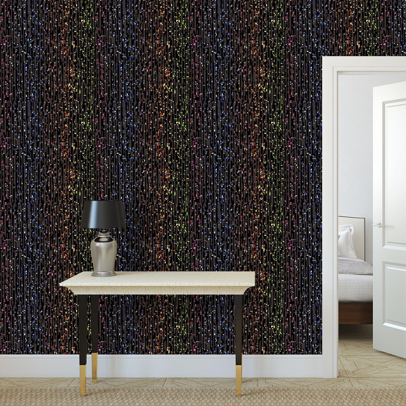 Cabaret Night - Wallpaper Rolls - glitter black, sparkling sparks, scintillant, rainbow gift, iridescent, lurex, glamorous sheen, brilliant chic, Bohemian, spectacular, magical - design by Tiana Lofd