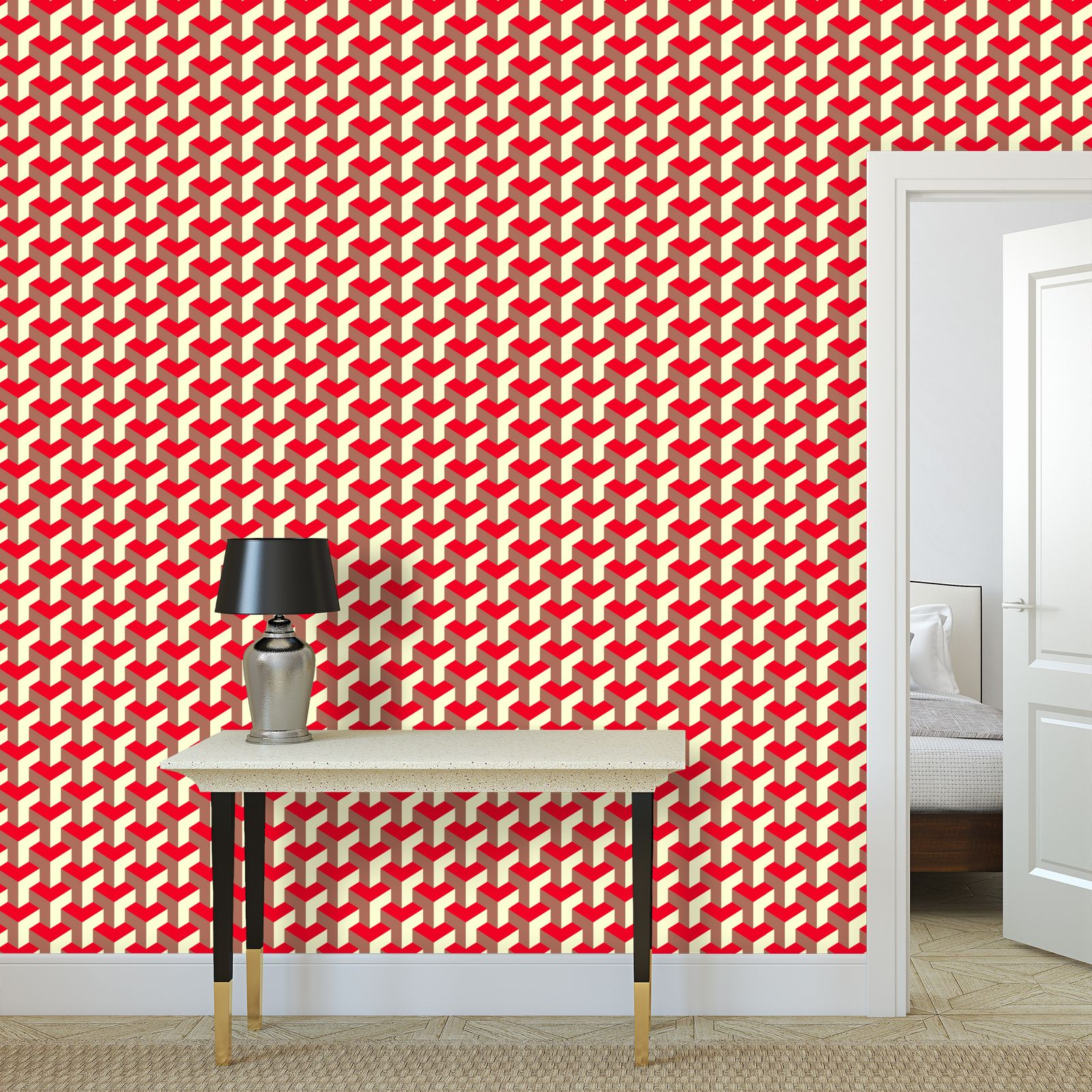 Heart in a cube - Wallpaper Rolls - Abstract geometry, red, contrasting, bright, elegant, statement, futuristic, spectacular, graphic, noble, asymmetrical, effective, stylish gift - design by Tiana Lofd