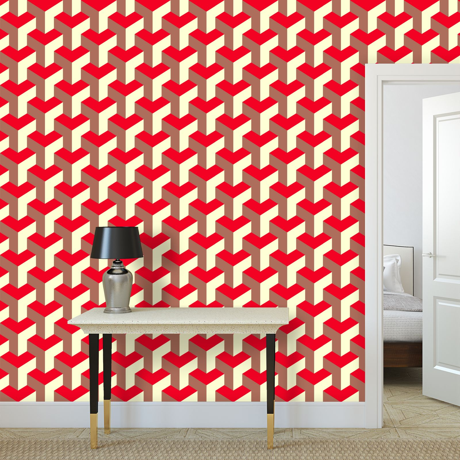 Heart in a cube - Wallpaper Rolls large scale - Abstract geometry, red, contrasting, bright, elegant, statement, futuristic, spectacular, graphic, noble, asymmetrical, effective, stylish gift - design by Tiana Lofd