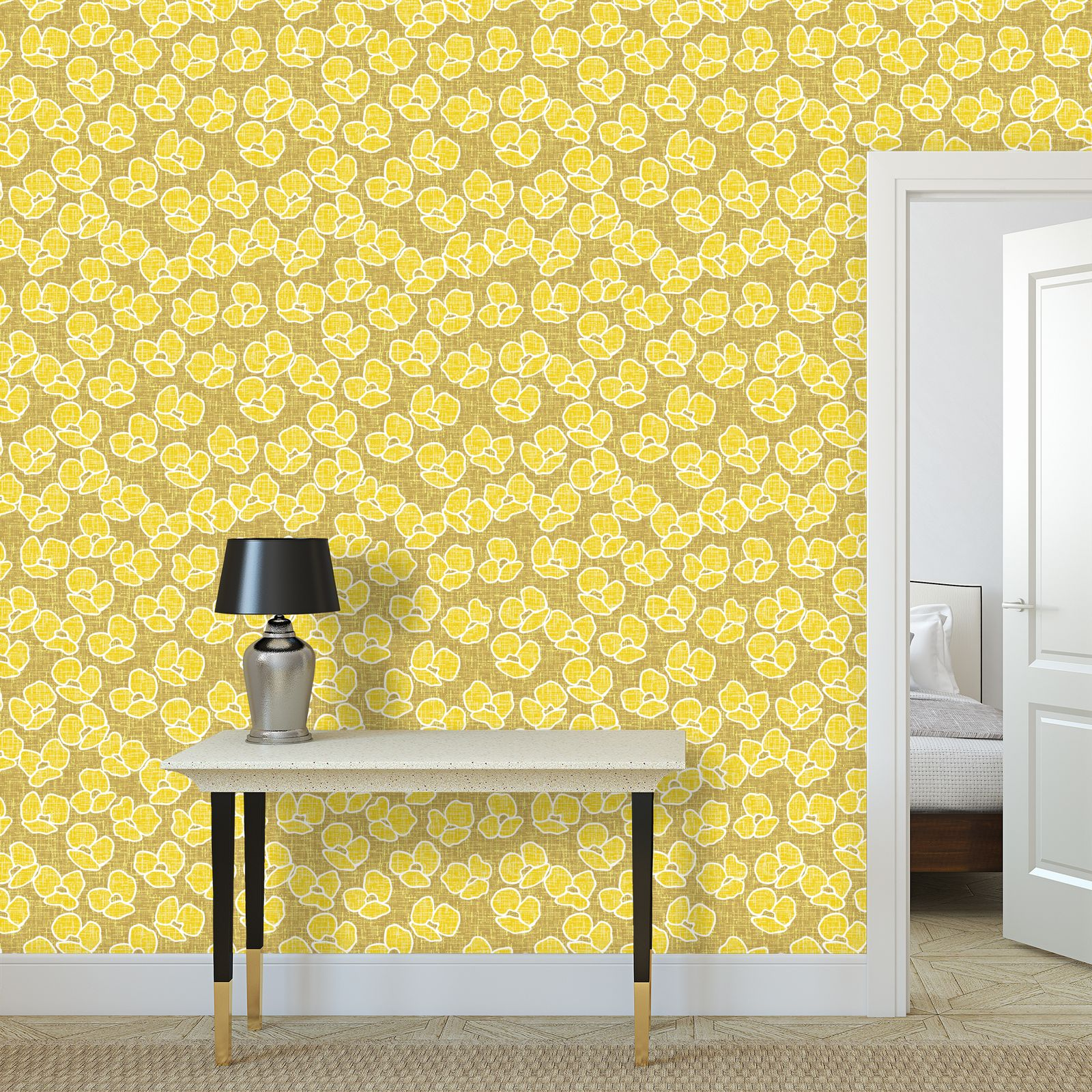 Wallpaper Rolls large scale - Golden poppies - yellow flowers, summer floral, flowering meadow, nature design, graphic, sun energetic - designed by Tiana Lofd