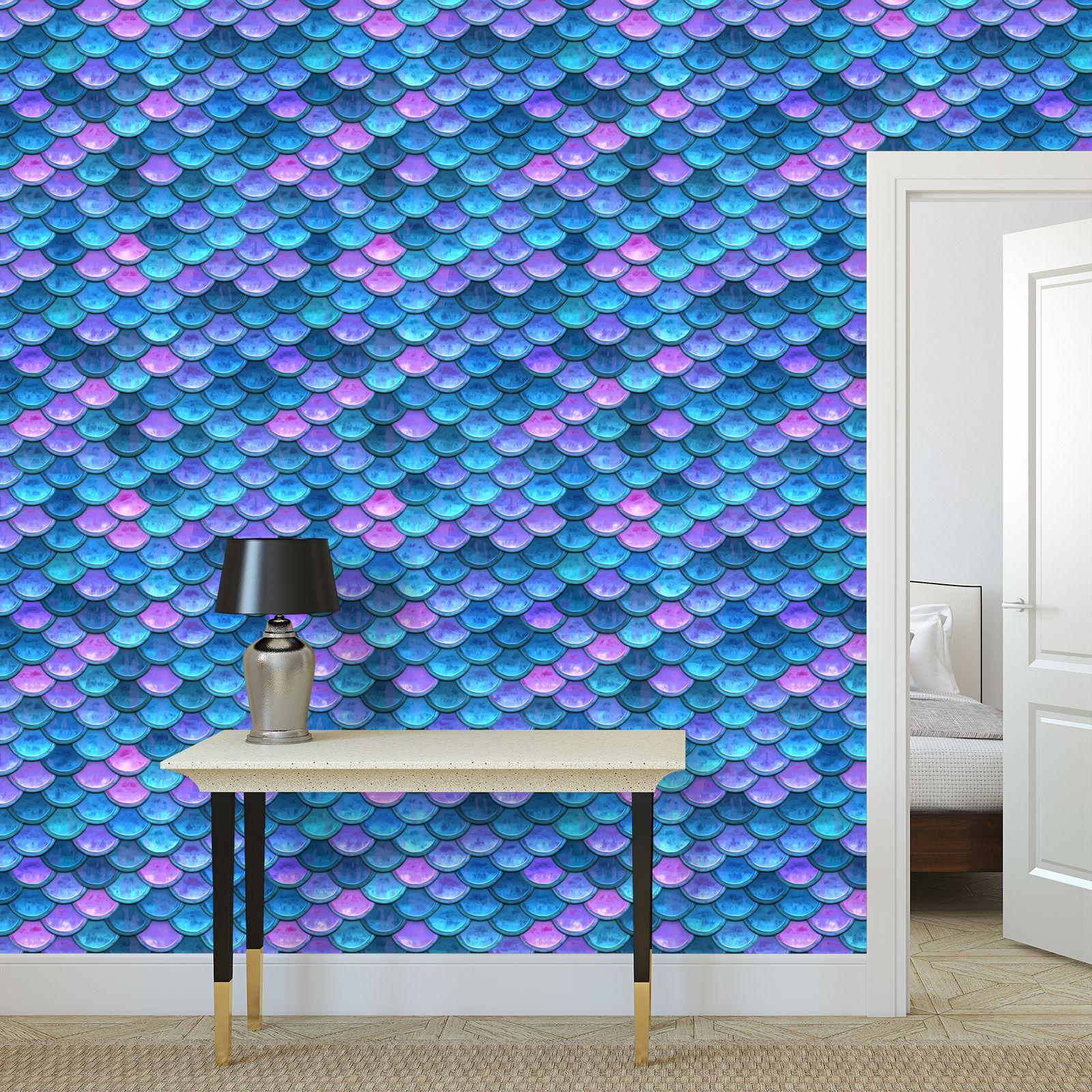 Mermaid skin - Wallpaper Rolls - Fantasy, iridescent bright pink blue scales of dragon, fish tail, mermaid lover gift, sea creature, ocean - Tiana Lofd design