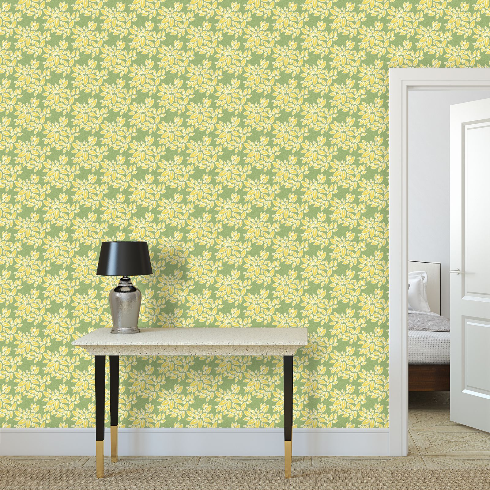 Leaf lace - Wallpaper Rolls - floral, yellow green leaves, lime, nature, summer gift