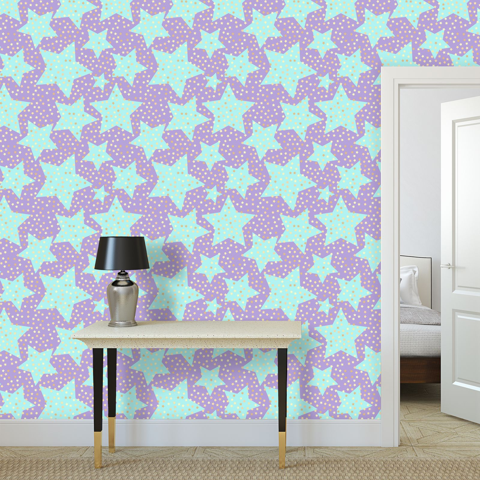 Luck Star - Wallpaper Rolls - starry sky, lovely, soft, Turquoise, purple, lilac, baby nursery, kid