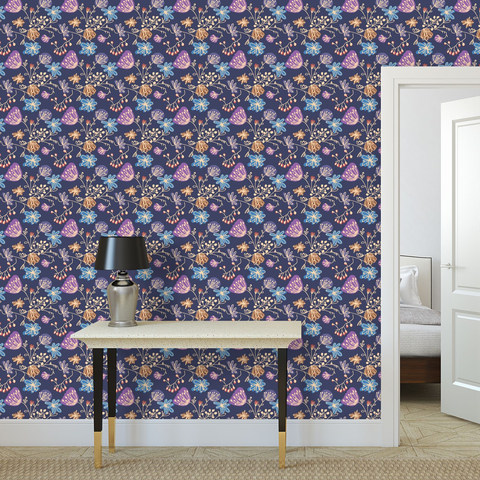Night flowers - Wallpaper Rolls - floral, blue, blooming plants, navy, natural, hand drawing gift