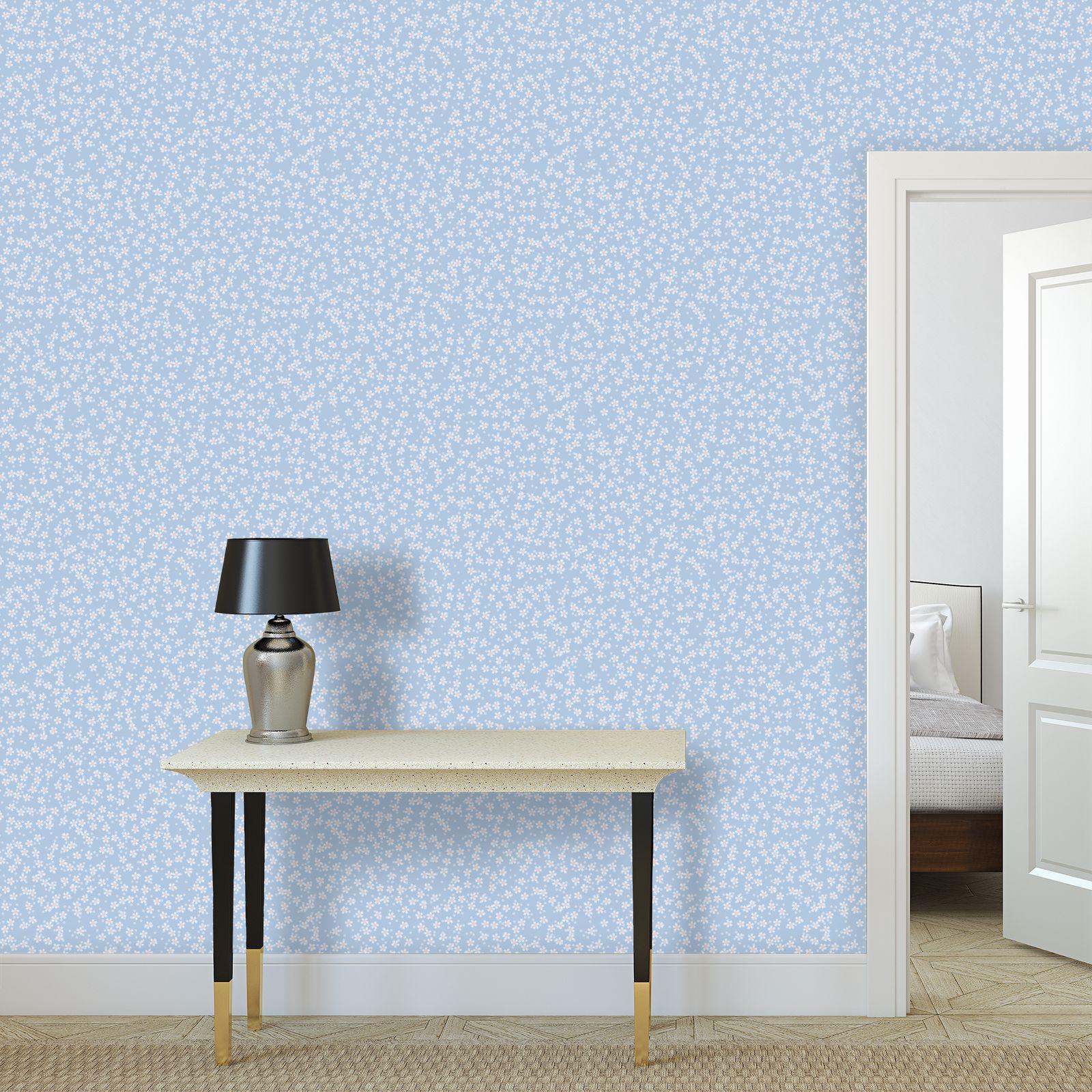 Forget-me-not - Wallpaper Rolls – floral gift, flowered vintage granny chic, light blue flowers, soft