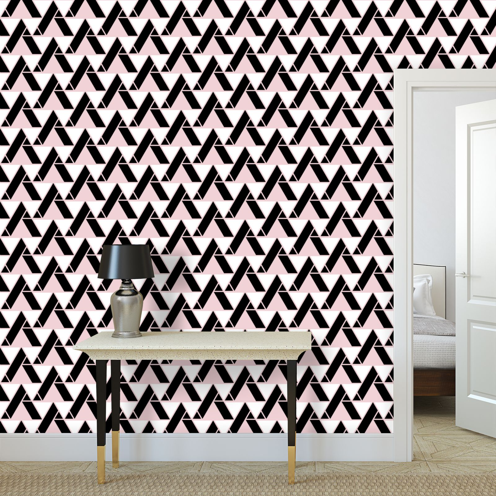 Rosy black - Wallpaper Rolls - pink geometric, abstract, fashion gift
