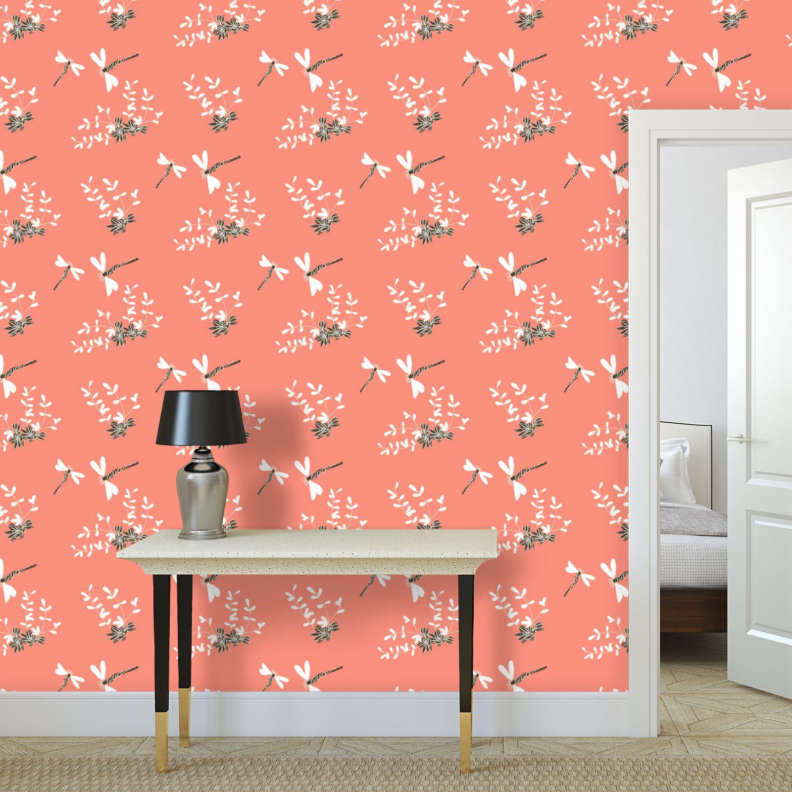 Hot day - Wallpaper Rolls - summer dragonflies, coral pink, natural gift