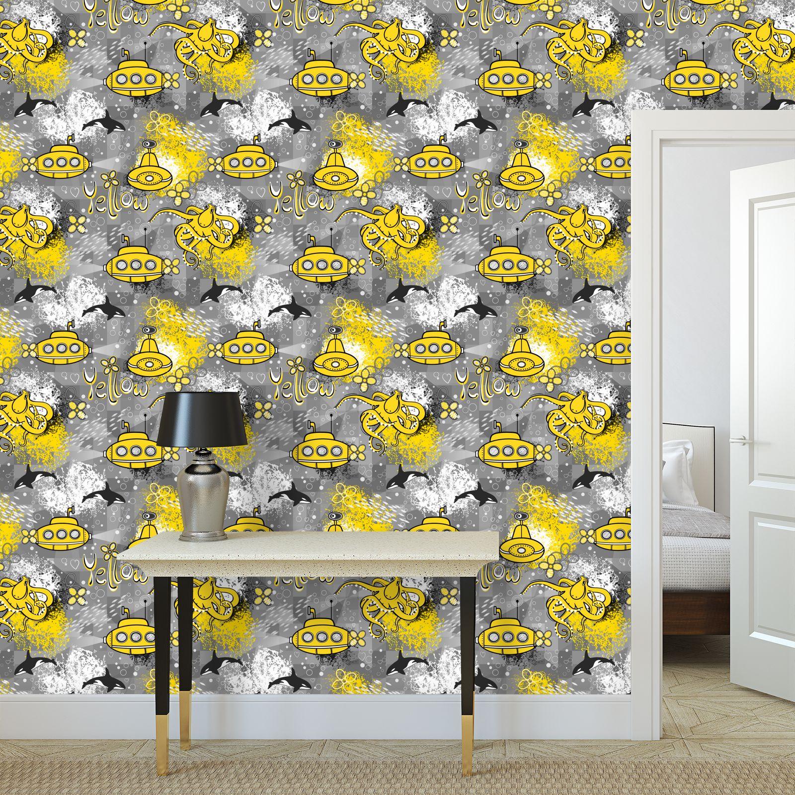 Yellow submarine - Wallpaper Rolls - kids, ocean, Children's, underwater adventure, octopus
