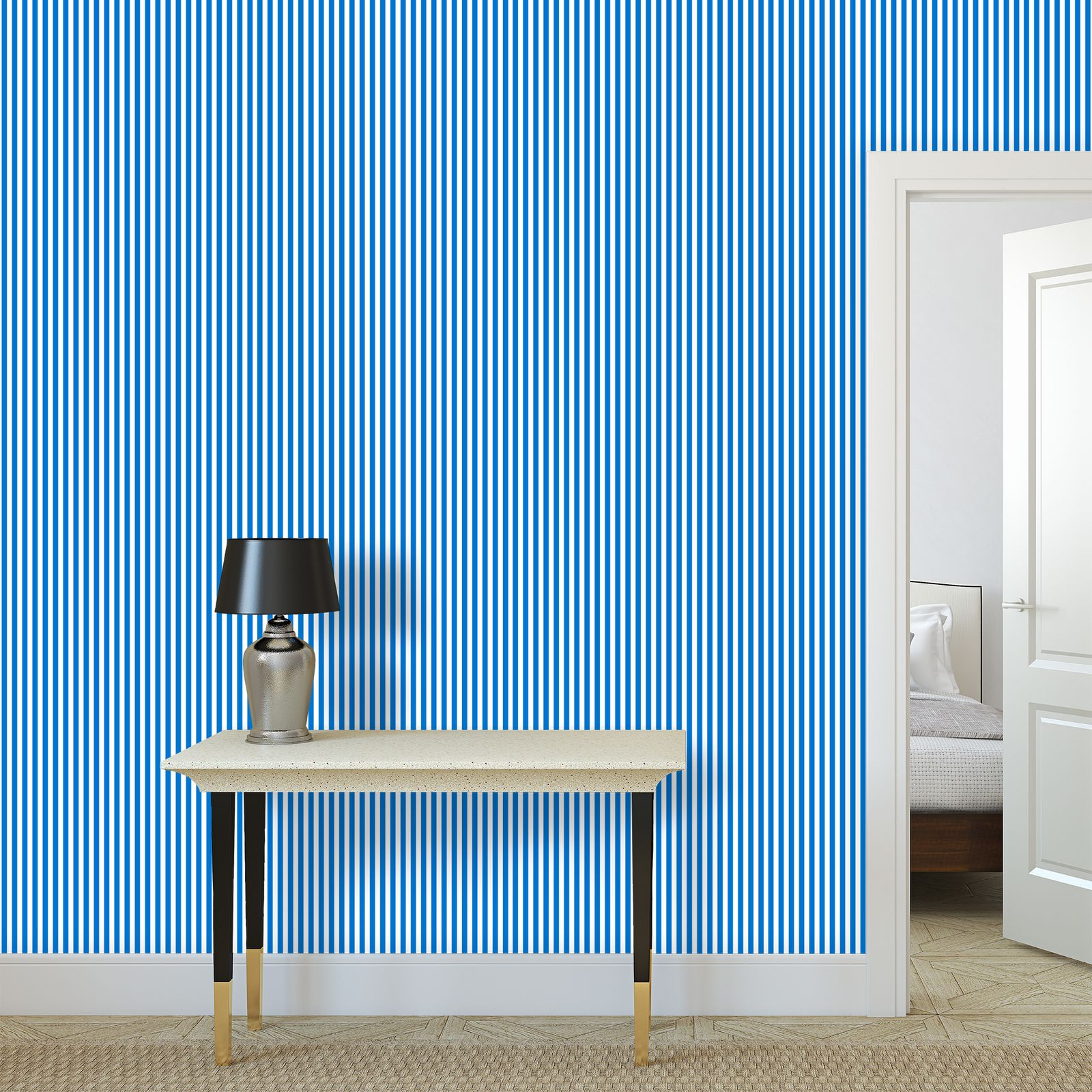 Vacation by the sea - Wallpaper Rolls - Horizontally striped, white and blue, marine, resort seaside