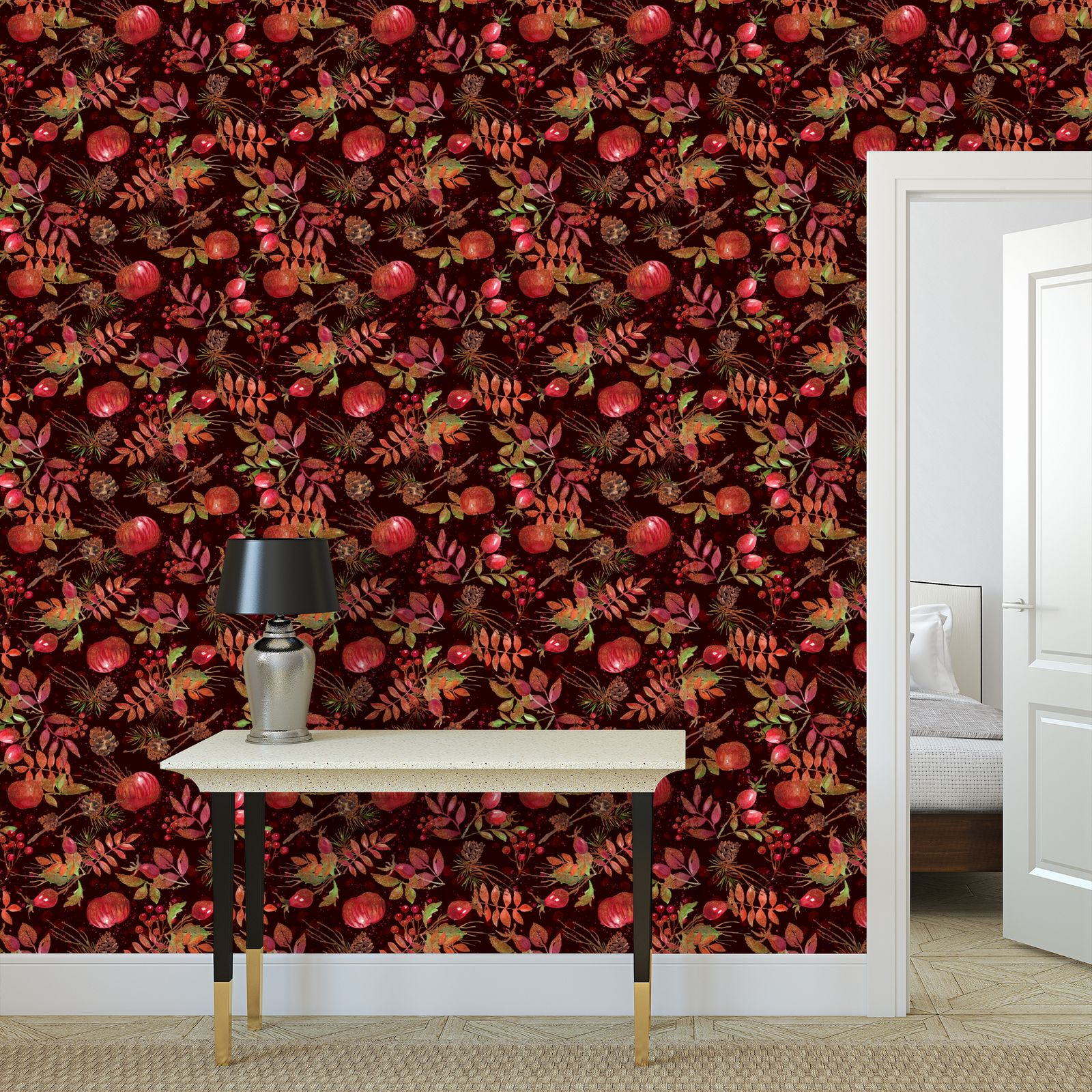 Autumn Garden - Wallpaper Rolls - orchard, watercolor gift, natural, picturesque, apples, floral