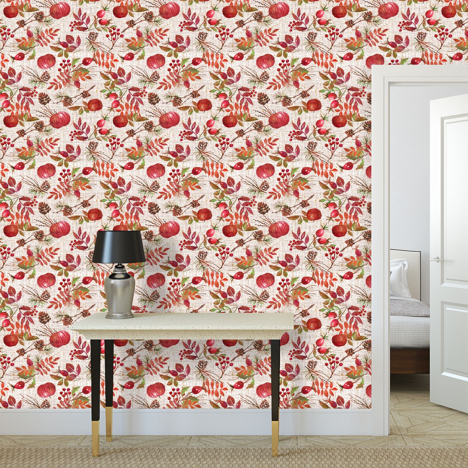 Fall - Wallpaper Rolls - watercolour autumn plants, red berries, hand-painted nature