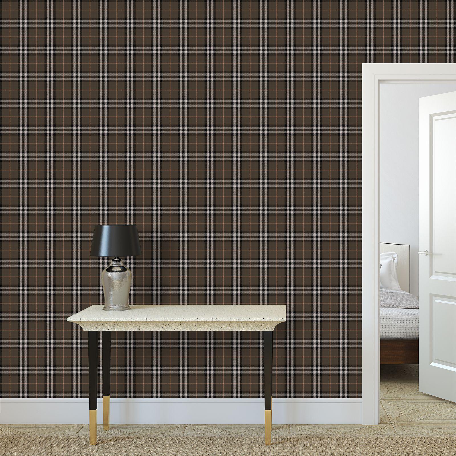 Brown tartan - Wallpaper Rolls - Classic plaid checkered. Tiana Lofd