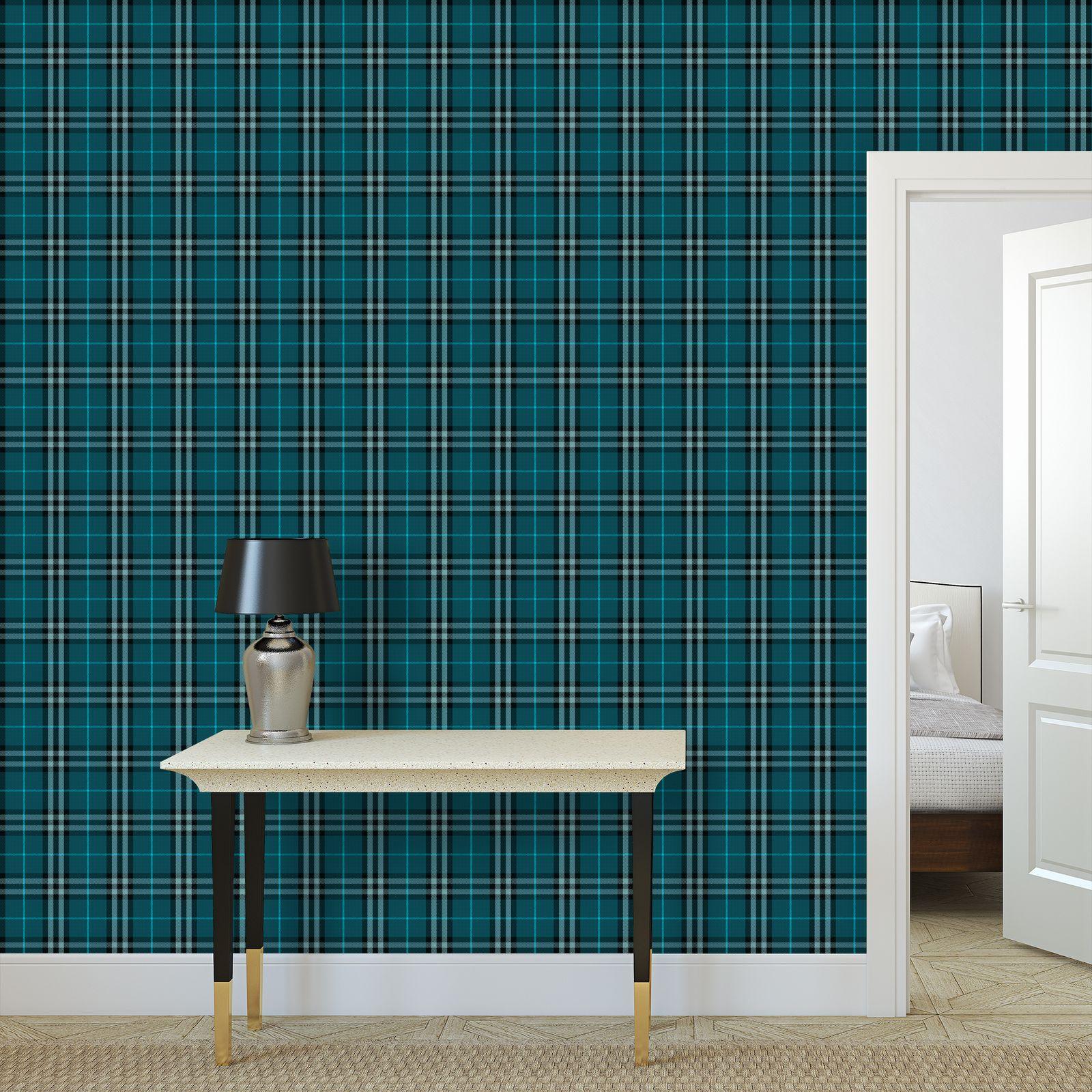 Blue tartan - Wallpaper Rolls - Classic plaid checkered. Tiana Lofd
