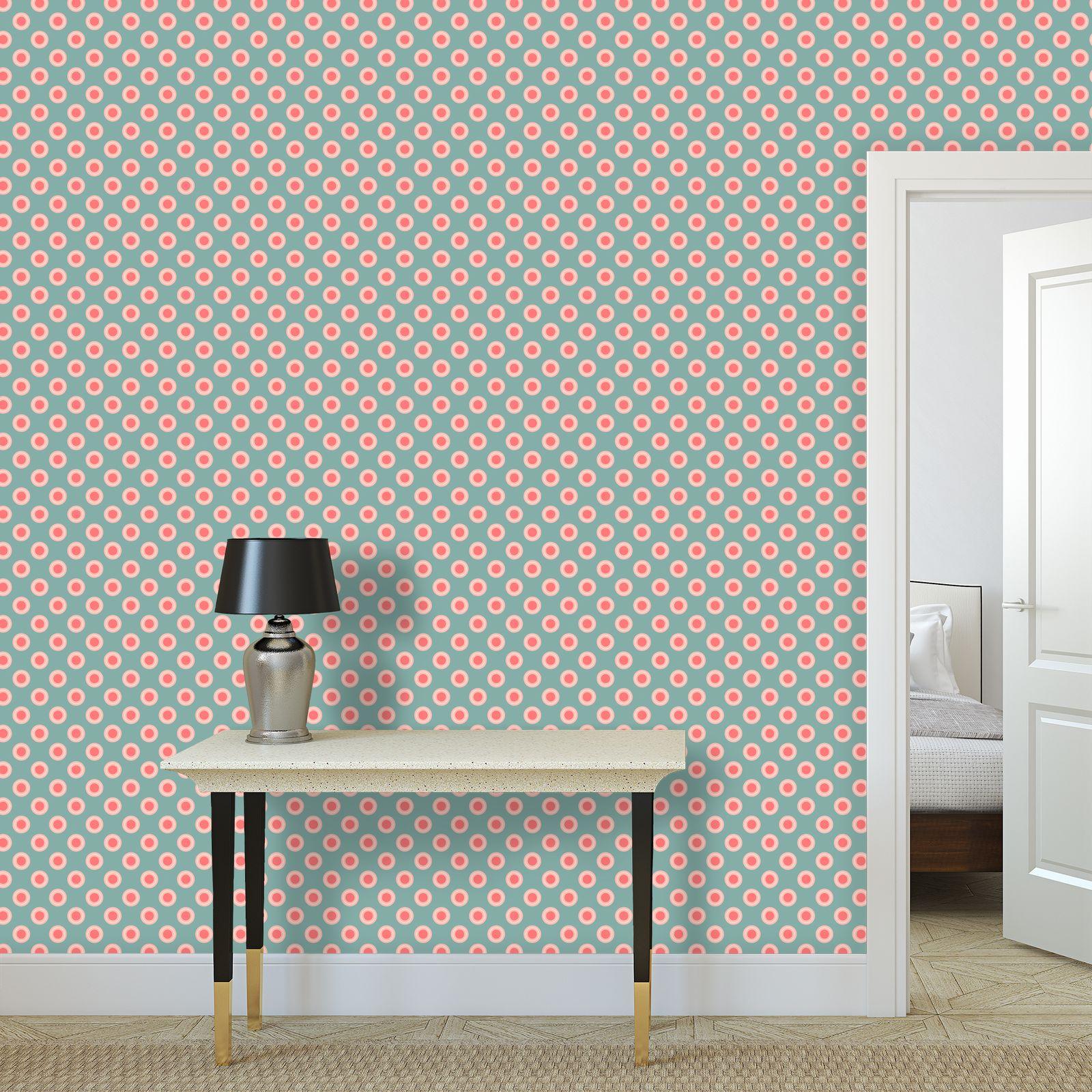 Strawberry meadow - Wallpaper Rolls - kids room pink green baby nursery, children polka dots