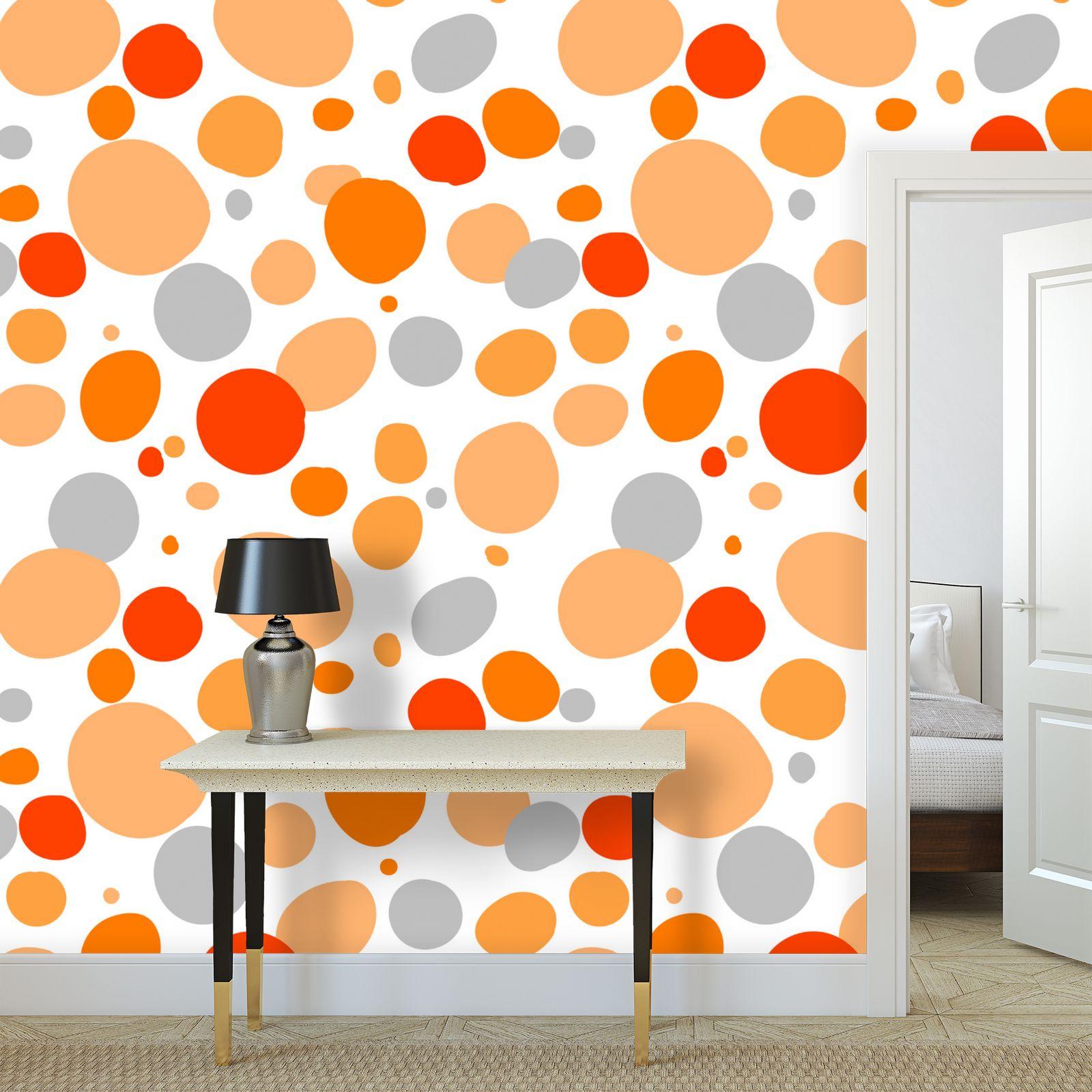 Orange Joy - Wallpaper Rolls - abstract bright spots, cheerful gift, sunny summer.