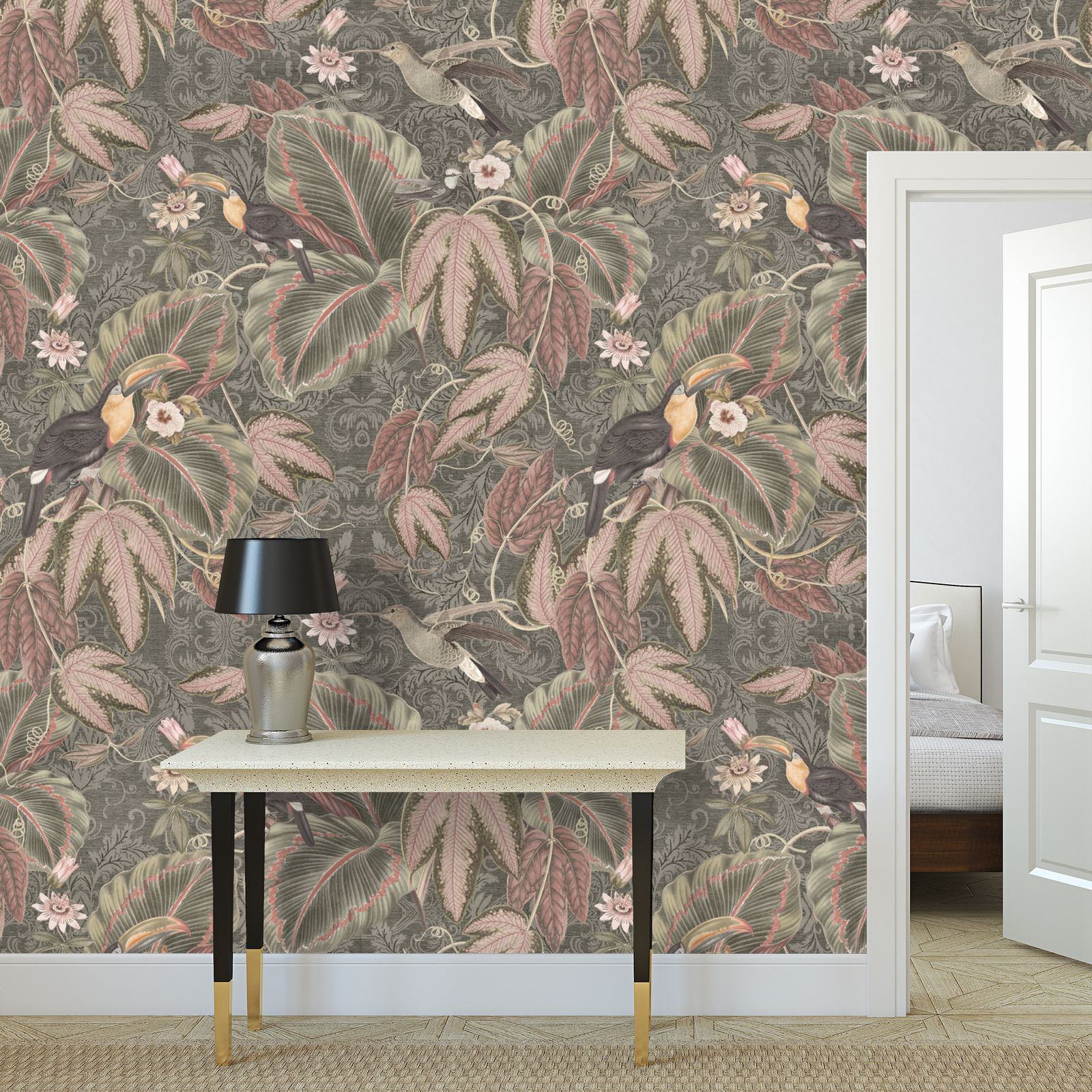 Premium printed wallpaper - Exotic birds foliage