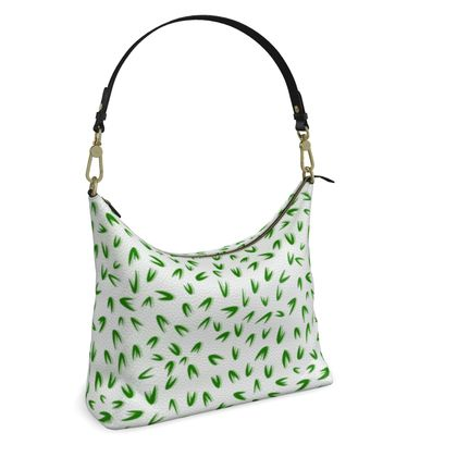 Spring freshness - Square Hobo Bag - Simplicity and refined, green and white, leaves, light, floral, natural, abstract, grassy, fine, elegant gift - design by Tiana Lofd