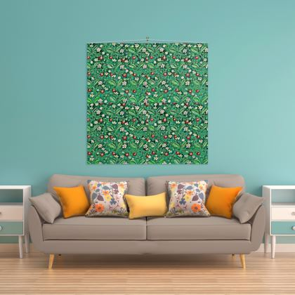 'Strawberries' Wall Hanging in Green and Red