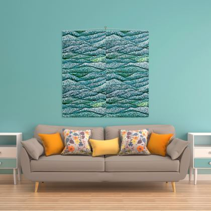 'Ocean Waves' Wall Hanging in Blue and Green