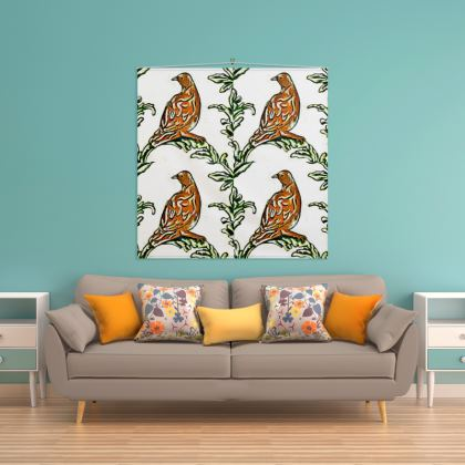 'Partridge' Wall Hanging in Brown and White