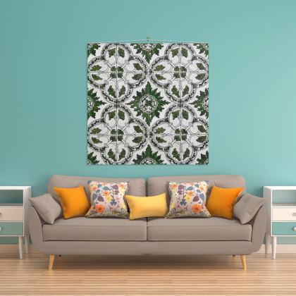 'Majolica' Wall Hanging in Green and White