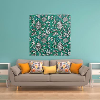 'Fantasia' Wall Hanging in Green and White