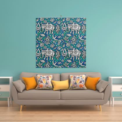 Oriental 'Elephant' Wall Hanging in Blue and Green