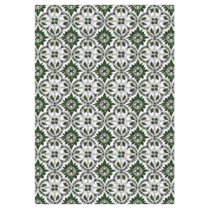 'Majolica' Curtains in Green and White