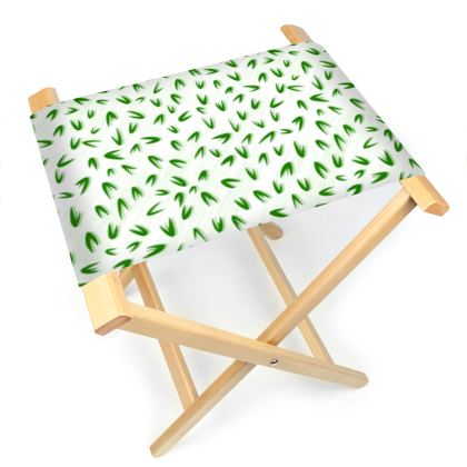 Spring freshness - Folding Stool Chair - Simplicity and refined, green and white, leaves, light, floral, natural, abstract, grassy, fine, elegant gift - design by Tiana Lofd