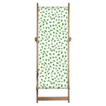 Deckchair - Spring freshness - Simplicity and refined, green and white, leaves, light, floral, natural, abstract, grassy, fine, elegant gift - design by Tiana Lofd