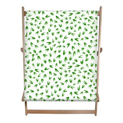 Spring freshness - Double Deckchair - Simplicity and refined, green and white, leaves, light, floral, natural, abstract, grassy, fine, elegant gift - design by Tiana Lofd