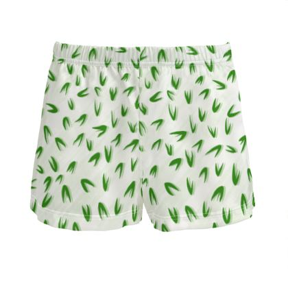 Spring freshness - Ladies Silk Pyjama Shorts - Simplicity and refined, green and white, leaves, light, floral, natural, abstract, grassy, fine, elegant gift - design by Tiana Lofd