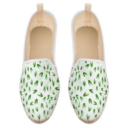 Spring freshness - Loafer Espadrilles - Simplicity and refined, green and white, leaves, light, floral, natural, abstract, grassy, fine, elegant gift - design by Tiana Lofd