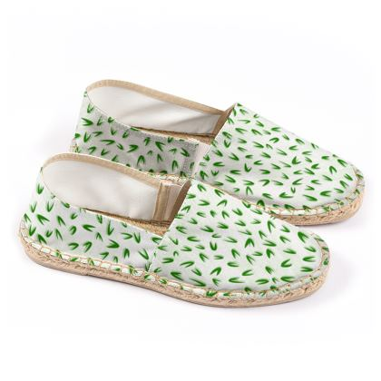 Espadrilles - Spring freshness - Simplicity and refined, green and white, leaves, light, floral, natural, abstract, grassy, fine, elegant gift - design by Tiana Lofd