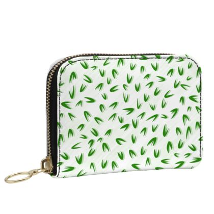 Spring freshness - Small Leather Zip Purse - Simplicity and refined, green and white, leaves, light, floral, natural, abstract, grassy, fine, elegant gift - design by Tiana Lofd
