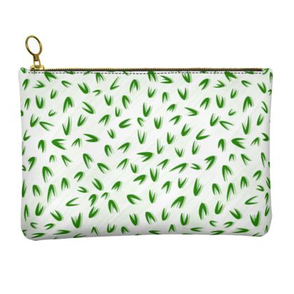 Spring freshness - Leather Clutch Bag - Simplicity and refined, green and white, leaves, light, floral, natural, abstract, grassy, fine, elegant gift - design by Tiana Lofd